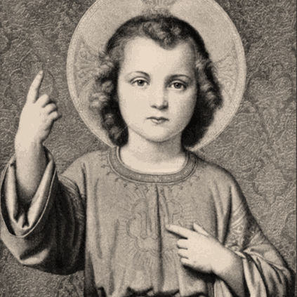 Engraving of the child Jesus for the Classical Liberal Arts Academy's Baltimore Catechism resources.