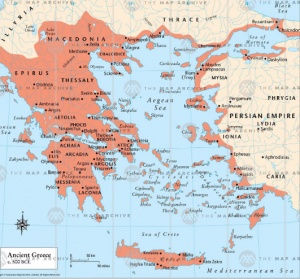 Map of Ancient Greece for the Classical Liberal Arts Academy's World Chronology course.