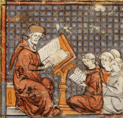 Alcuin teaching the seven classical liberal in a medieval illustration. arts