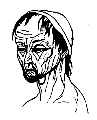 Picture of the Fearful man from Theophrastus' Characters.