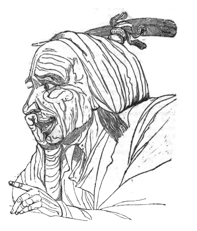 Picture of the Locquacious man from Theophrastus' Characters.
