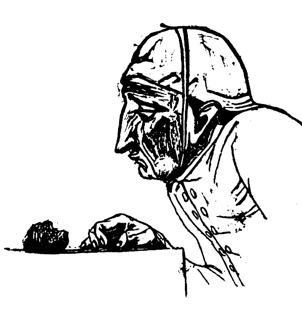 Picture of the Parsimonious man in Theophrastus' Characters.