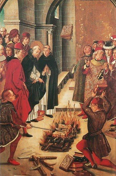 An image of Catholics burning books.
