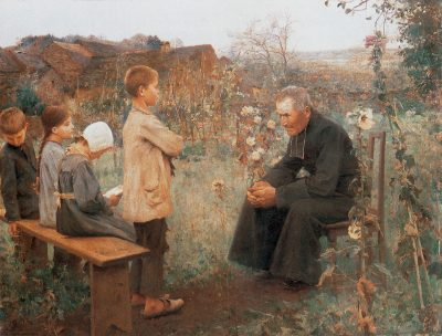 A priest catechizes children--serving the goal of education.
